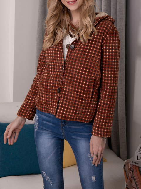 Orange Casual Shift Checkered/plaid Cotton-Blend Outerwear