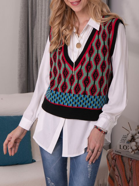 Red Casual Geometric Acrylic V Neck Sweater