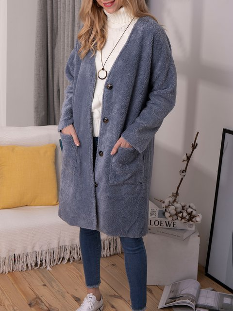 Blue Casual Shift Outerwear