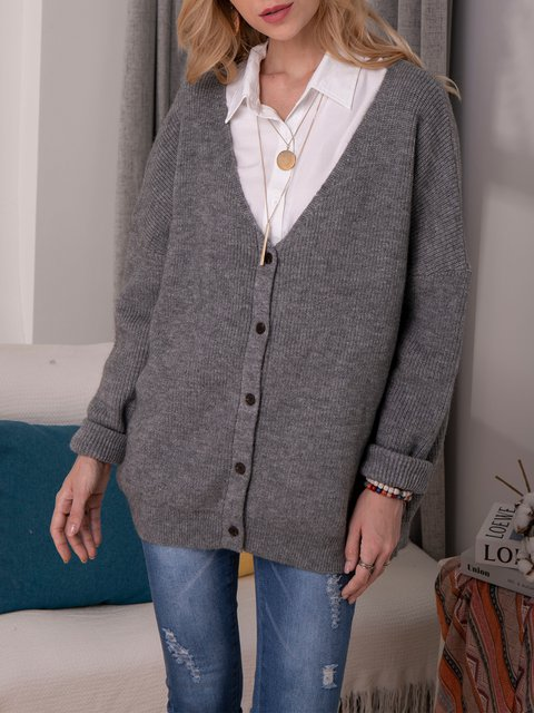 Gray Long Sleeve Acrylic Sweater
