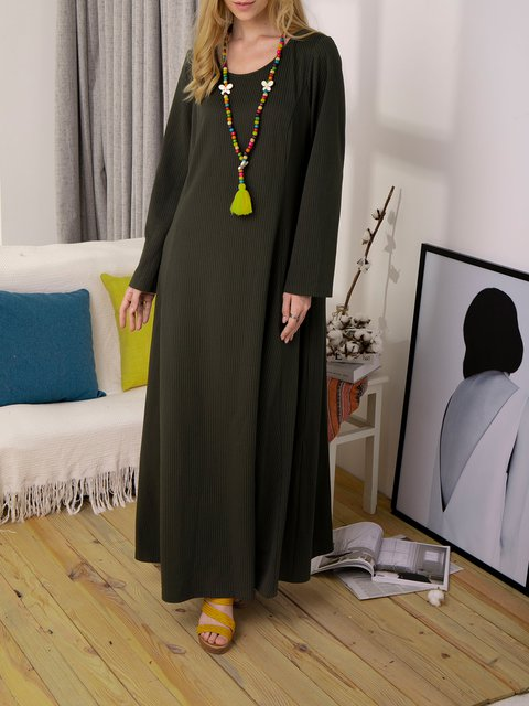Casual Round Neck Solid Color Maxi Dress