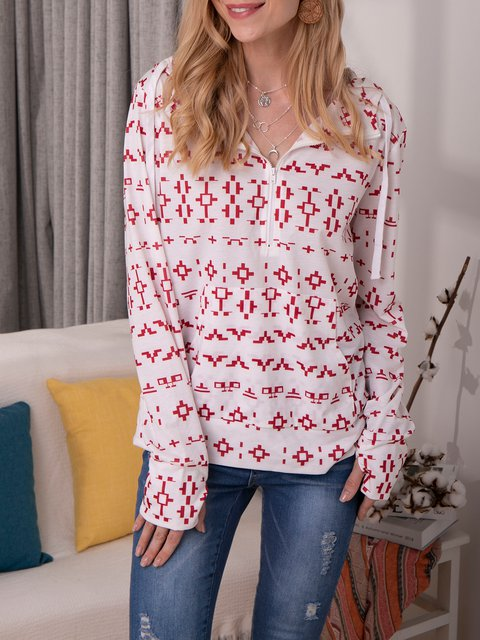 Casual Printed Half Zipper Neck Hooded Sweatershirt