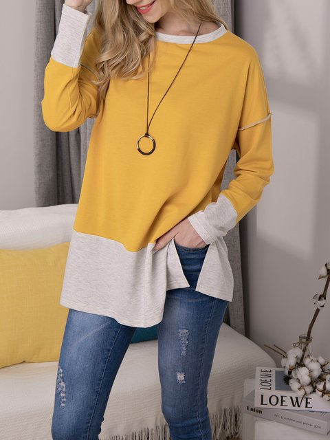 Casual Round Neck Long sleeve Patchwork Top