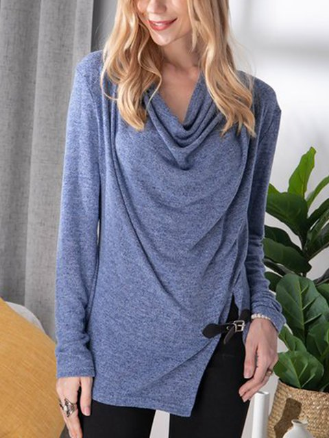 Heap Pile Collar Brushed Blouse Small Belt Buckle Leisure Tops