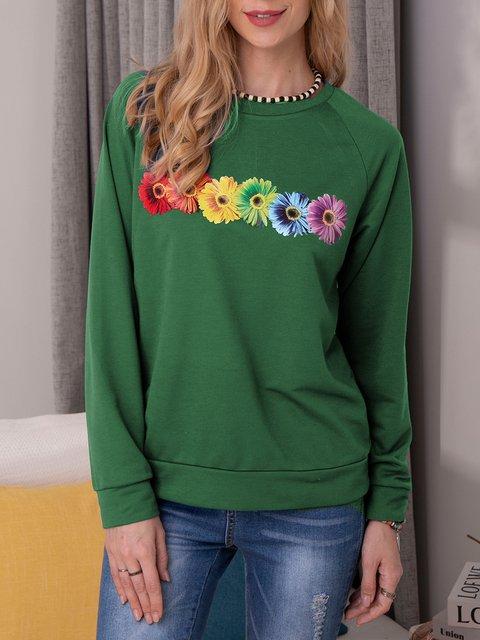 Flower Printed Sweatshirt Casual Long Sleeve Tops