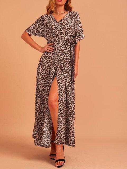 Brown Swing Short Sleeve Chiffon Dresses