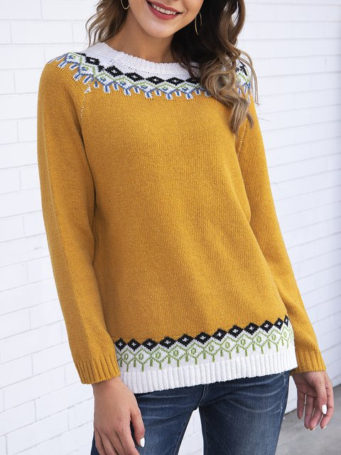 Yellow Long Sleeve Crew Neck Shift Sweater