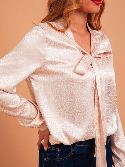 White Long Sleeve Polka Dots V Neck Shift Shirts & Tops