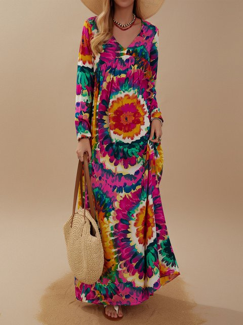 Tribal Printed V Neck Long Sleeve Maxi Dress