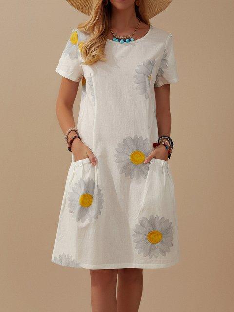 Floral Print Button Pocket Short Sleeves Dress