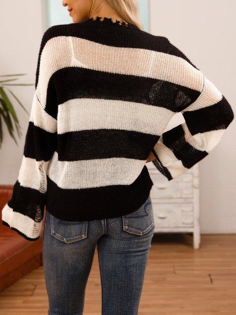 Black Striped Crew Neck Casual Sweater