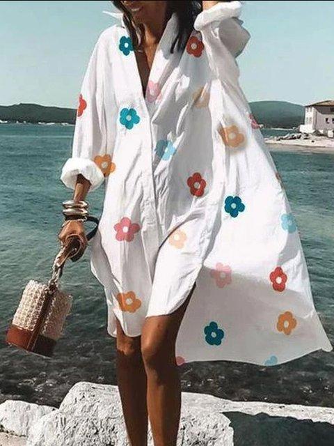 White Shirt Collar Floral Long Sleeve A-Line Dresses