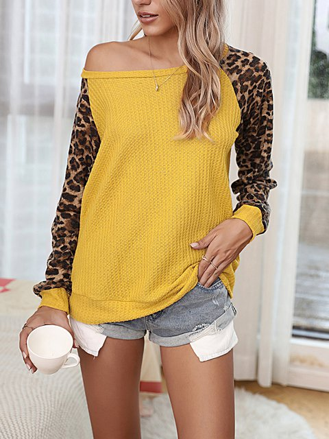 Cotton-Blend Leopard Long Sleeve Sweater