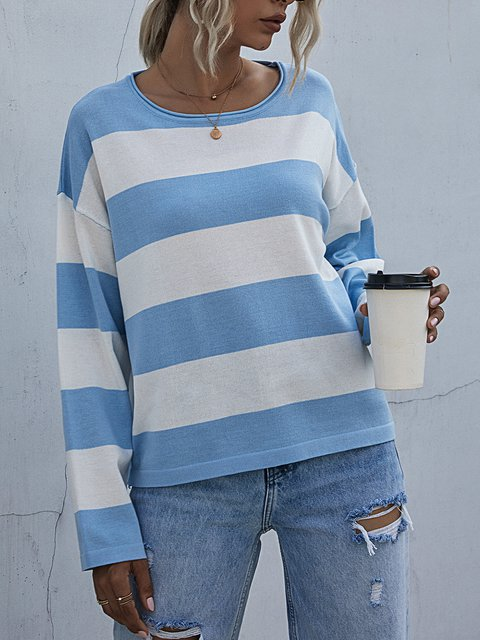 Striped Casual Loose Round Neck Long-sleeved Knitted Sweater