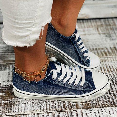 Flat Heel Round Toe Vintage Flat Sneakers