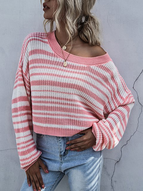 Casual Loose Striped Knit Pullover Sweater