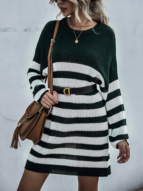 Casual Striped Round Neck Long Sleeve Knitted Sweater Dress
