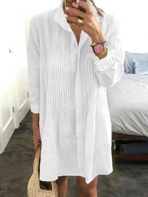 White Shirt Collar Shift Long Sleeve Dresses