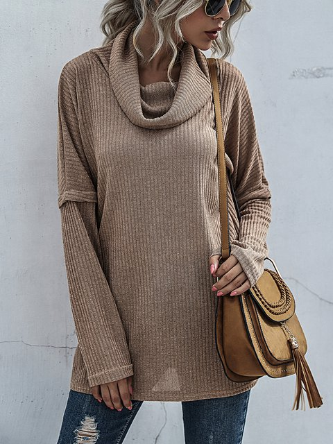 Pile Collar Solid Color  Loose Knitted Sweater Long Sleeve Outer Wear