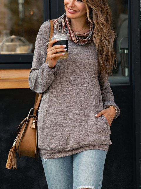 Pile Collar Solid Color Thin Knit Long Sleeves Blouse Tops