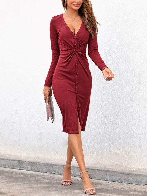 Knotted Single-breasted Deep V-neck Split Knitted Dress
