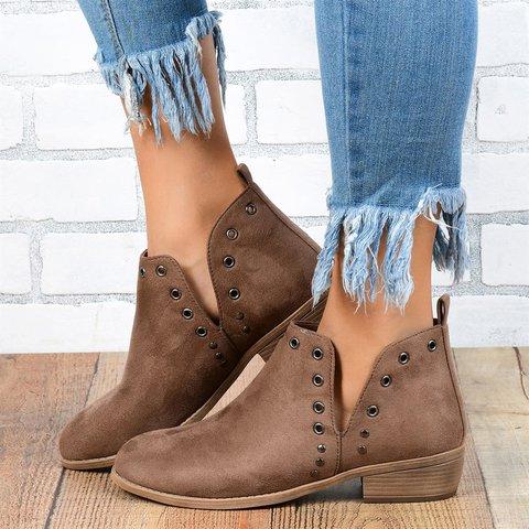 Artificial Leather Dress Rivet Boots