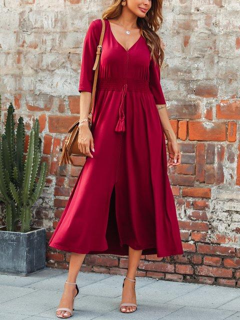 Solid Color V-neck Ethnic Drawstring Dress