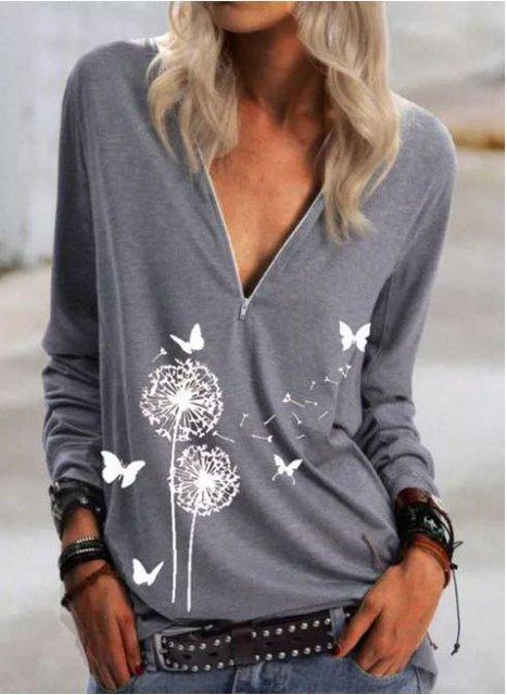 New Women Fashion Plus Size Casual Daily Zipper T-shirt Plus Size Vintage Shirts & Tops