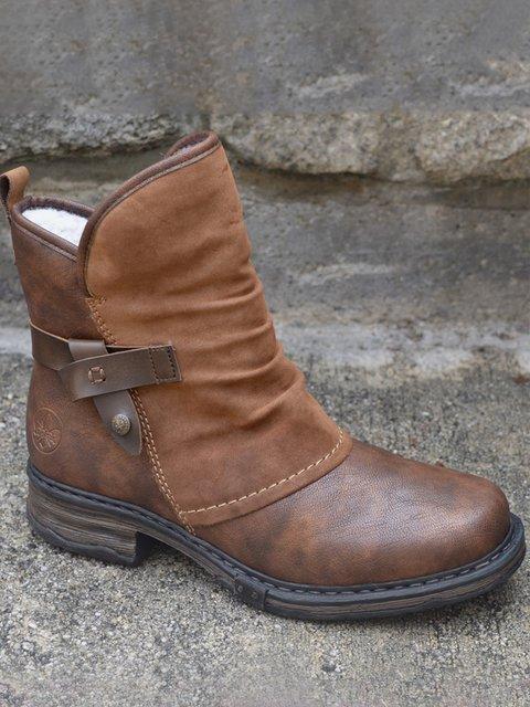 Brown Pu Low Heel Boots