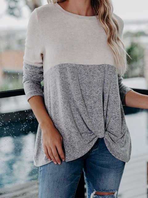 Casual Long Sleeve Cotton-Blend Crew Neck Shirts & Tops