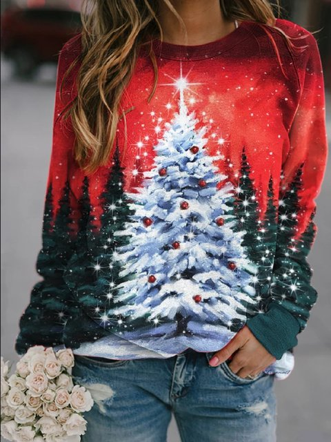 As Picture Cotton-Blend Christmas Snowman Crew Neck Long Sleeve Shirts & Tops