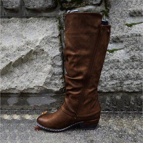 Artificial Leather Zipper Block Heel Boots