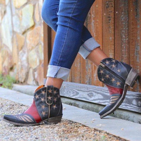 Black Red Split Joint Block Heel Seaside Fall Boots