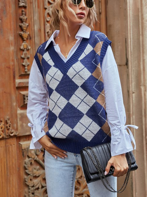 Casual V-neck Plaid Knitted Vest