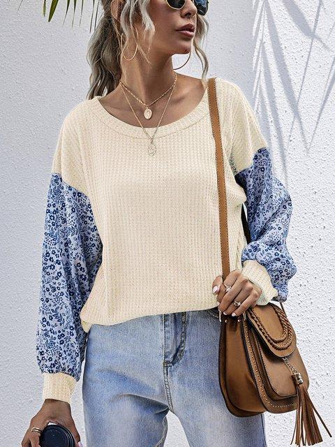 Casual Splicing Crew Neck Loose Pullover Sweater