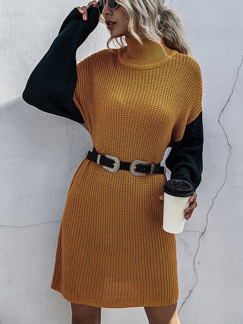 Long Sleeve Knitted Slim Long Pullover Sweater Dress