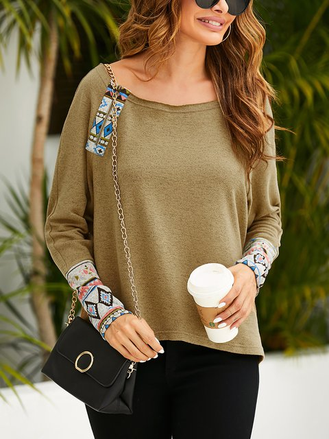 Ethnic Print Cuffs Loose Casual Long Sleeve T-shirt