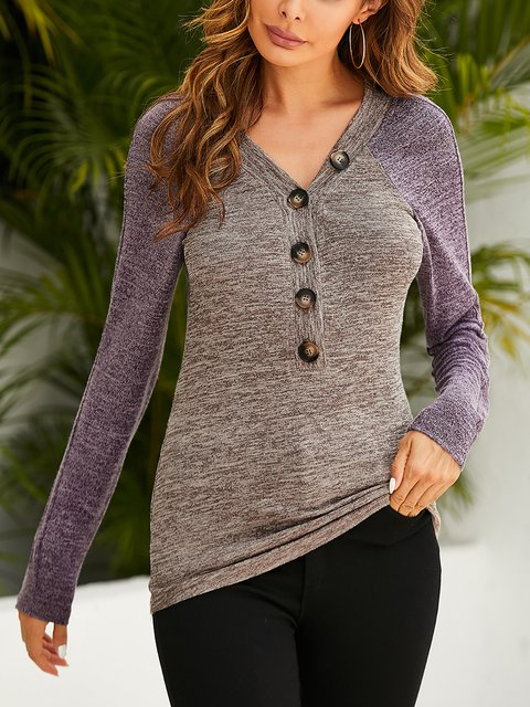 V-neck Contrast Button Embellishment Casual T-shirt