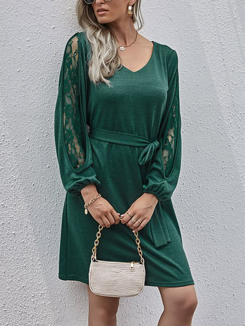 Casual Lace Patchwork Sleeve V-neck Dress