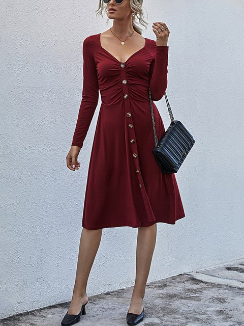 Solid Color V-neck Button Long Sleeve Casual Dress