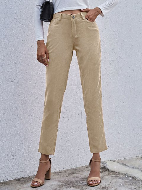 Solid Color Casual Slim Corduroy Trousers