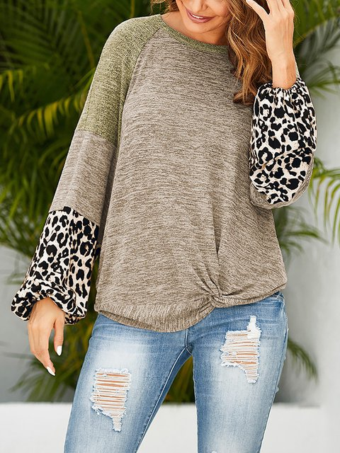 Leopard Patch Contrast Loose Lantern Sleeve Long Sleeve T-shirt