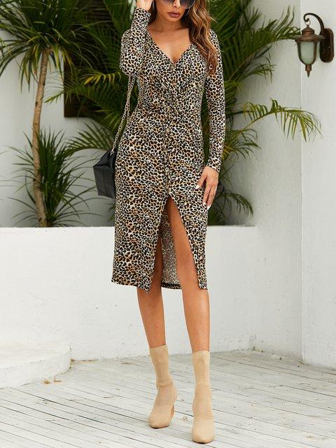 V-neck Sexy Leopard High Slit Long Sleeve Dress