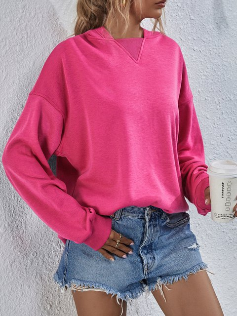 Casual Solid Color Plush Hooded Sweatershirt