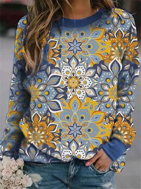 Digital Floral Printing Round Neck Casual Sweatershirts