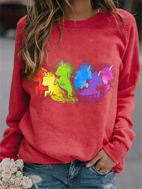 Unicorn Print Sweatershirt Casual Long-sleeved Tops