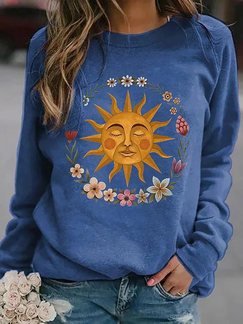 Sunflower Print Sweatshirt Casual Long Sleeve Tops