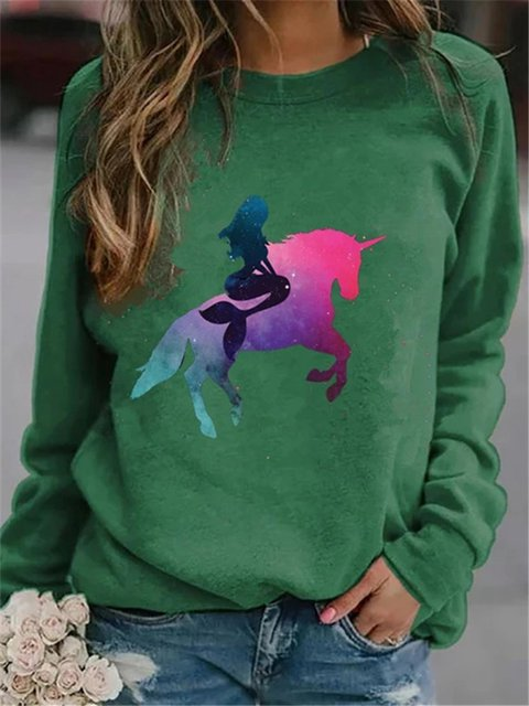 Fashion Unicorn Print Sweatshirt Casual Long Sleeve Tops