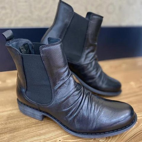 Block Heel Fall Leather Formal Boots