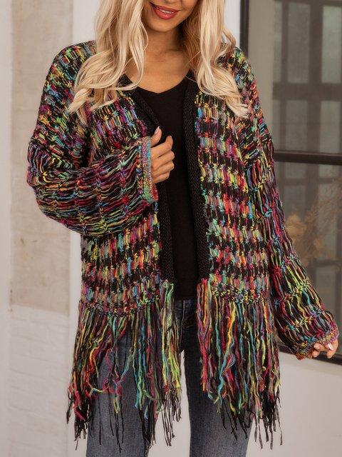 Black Paneled Cotton-Blend Long Sleeve Sweater